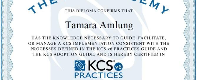 Tamara Amlung ist KCS Practices certified.