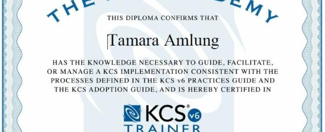 Certified KCS Trainerin Tamara Amlung
